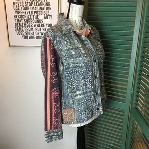 Chico's Indigo Dyed Jacket with Patchwork insets